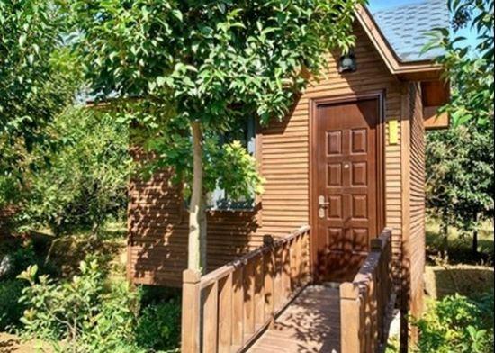 摘完草莓便被躲在树林中的木屋别墅吸引,索性就住下了,房间 都是木制