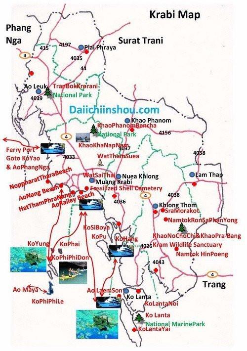 甲米旅游地图